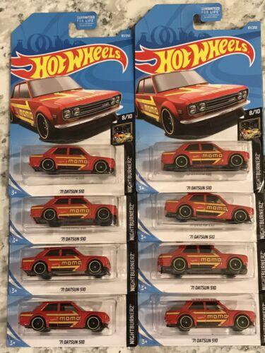 Hot Wheels 2019 Nightburnerz /'71 DATSUN 510 MOMO 8//10 Bluebird Lot Of 8 NMOC