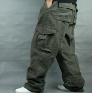 Mens-Army-Combat-Loose-Baggy-Casual-Cargo-Pants-Cotton-Outdoor-Work-Trousers-New