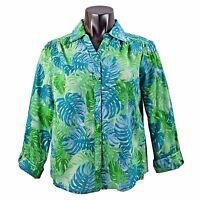 Laura Scott Womens Green Floral Jungle Print Button Down Dress Shirt Blouse S Xl