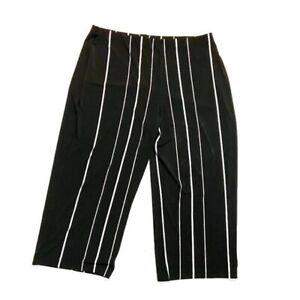 Alfani-Plus-Size-2X-Crop-Pants-Striped-Pull-On-Wide-Leg-Stretch-Culottes