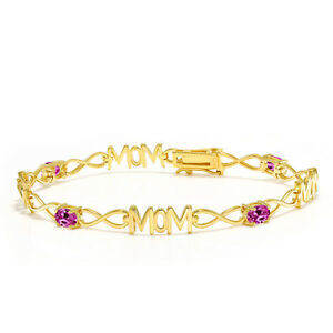 2-00-Ct-Oval-Pink-Created-Sapphire-18K-Yellow-Gold-Plated-Silver-Mom-Bracelet