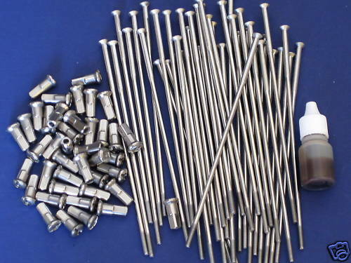 """TRIUMPH Stainless front wheel spokes 19/"""" 1958 59 60 62 63 64 65 66 .300 nipples"""