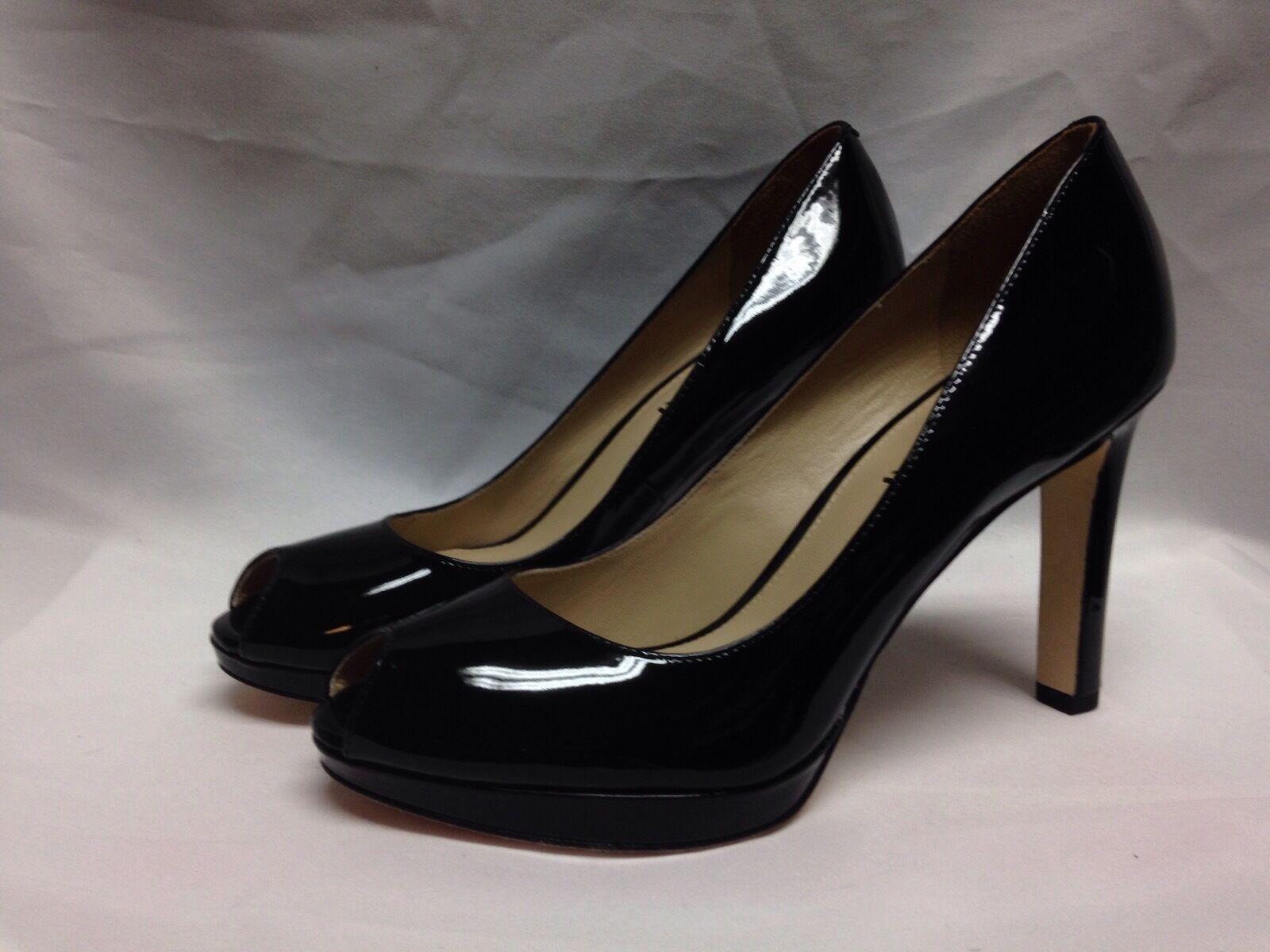 prima i clienti Via Spiga Brandy Open Toe Pump 7.5 7.5 7.5 M nero Patent Leather New w Box  scelte con prezzo basso