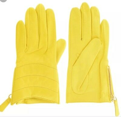 Coach 82822 Women/'s Short Zip Quilted Bright Lemon Yellow Casual Leather Gloves