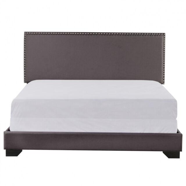 Upholstered Bed Frame Full Size Wood Slats Platform Headboard Mattress, Charcoal