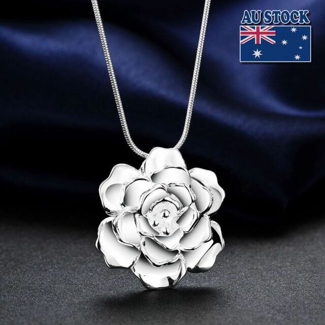 Gorgeous jewelry 925 Silver Filled Rose Flower Pendant Chain Necklace Stunning