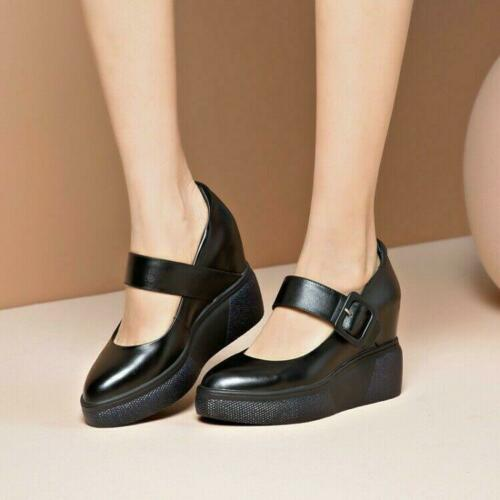 Details about  /Casual Women Round Toe Wedge Heels Buckle Strap Leather Punk Platform Shoes