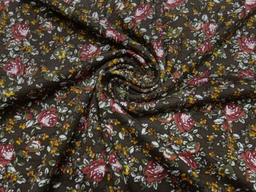 Stoff Viskose Jersey Blumen Streublumen braun bordeaux oliv ocker Kleiderstoff