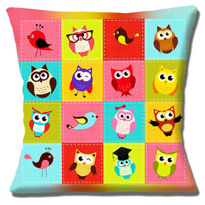 BRAND-NEW-Owls-Birds-039-Patchwork-039-Bright-Colours-16-034-x-16-034-Pillow-Cushion-Cover