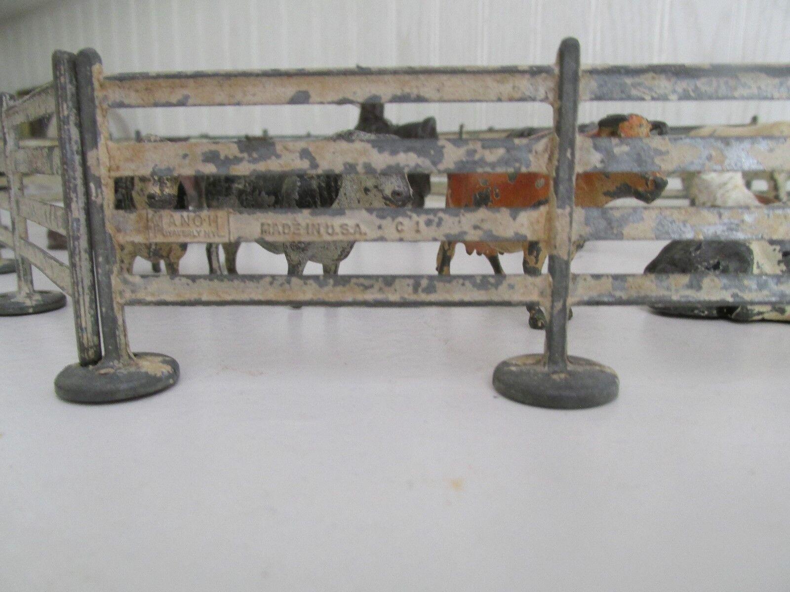 Juguete Vintage valla y Granegro patio animales, vacas, caballos, y 1 perro