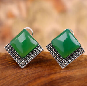 A03-Earring-Elegant-Studs-Silver-925-Square-Made-of-Green-Chalcedony-Marcasite