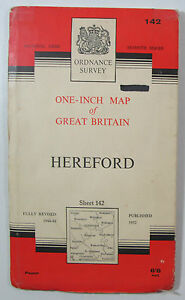 1960-old-vintage-OS-Ordnance-Survey-seventh-series-one-inch-Map-142-Hereford