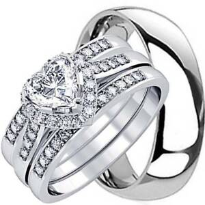 HIS-AND-HERS-4-PCS-MENS-WOMENS-STERLING-SILVER-SOLID-TITANIUM-WEDDING-RINGS-SET