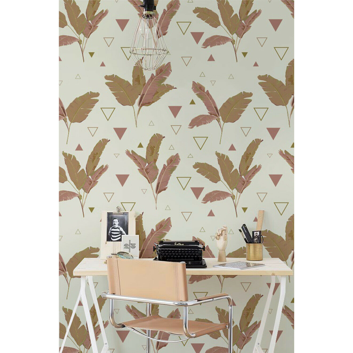 Palms Triangles Non-woven wallpaper cover Easy on Home wall mural Decal