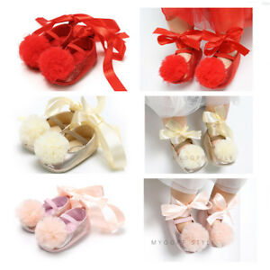 163573a556a1e Newborn Baby Girl Princess Crib Shoes Infant Pom Pom Ball Shoes ...