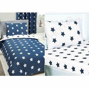 Stars Navy Blue White Single Duvet Cover Fitted Sheet 2