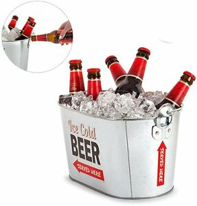 balvi beer cooler party time bottle opener metal ice bucket drink holder ebay. Black Bedroom Furniture Sets. Home Design Ideas