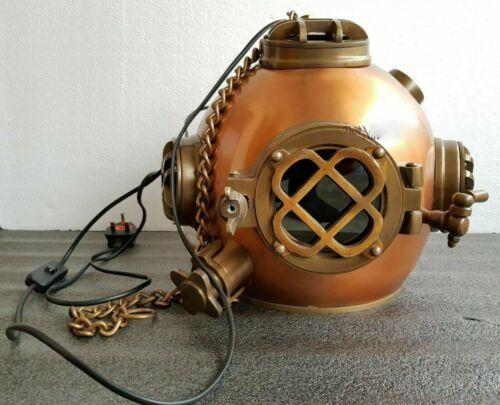 Antique Hanging Brown Lamp Diving Helmet ~ U.S Navy Deep Sea Divers Lamp Helmet