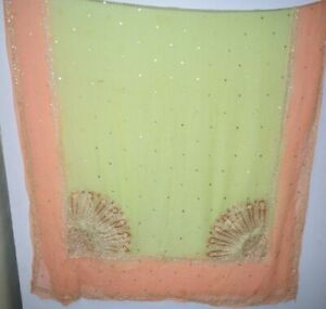 Vintage-Dupatta-Long-Stole-Chiffon-Silk-Multi-Color-Veil-Hand-Beaded-Tie-amp-Dy