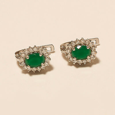 Zambain Emerald Gemstone 925 Sterling Silver Earring Studs Wedding Jewelry Gifts