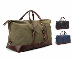 5c991594a1 Image is loading Vintage-Retro-Men-Leather-wash-canvas-duffle-weekend-