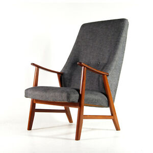 Retro-Vintage-Danish-Modern-Teak-amp-Wool-Easy-Chair-Lounge-Armchair-Nordic-1960s