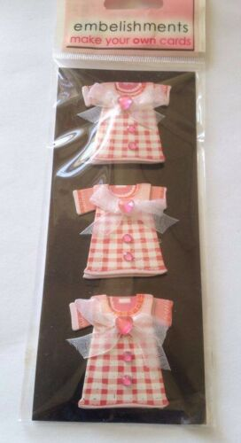 3 Dress Card Topper Embellishments Crafts scrap booking card making Kids Ribbon