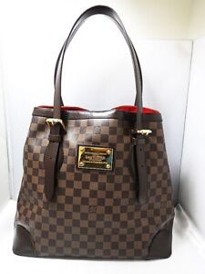 LOUIS-VUITTON-Damier-Ebene-Hampstead-GM-Shoulder-Tote-Hand-Bag-N51203-Used