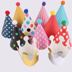 11pcs Crown Hats Paper Cone Happy Birthday Caps Set Cute Kids Favor Party Decor