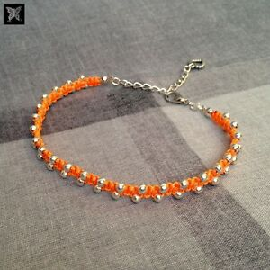 Orange-amp-Silver-Beaded-Adjustable-Macrame-Anklet-w-Love-Heart-Charm