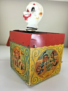 Vintage-1950s-Mattel-Music-Maker-Toy-Jack-In-Box-5-034-Jolly-Tune-Clown-NOT-WORKING