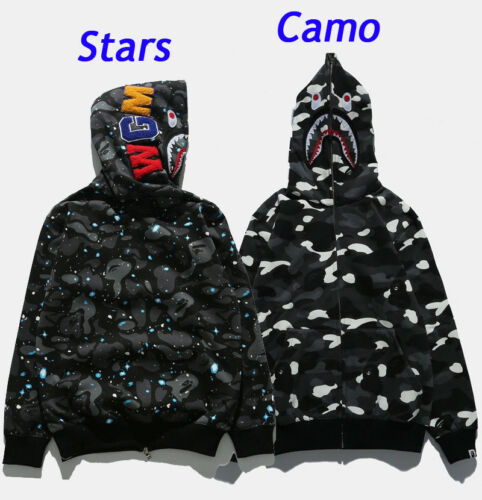 BAPE MEN/'S A BATHING APE SPACE CAMO SHARK HOODIE FULL ZIP Sweater COAT JACKET N