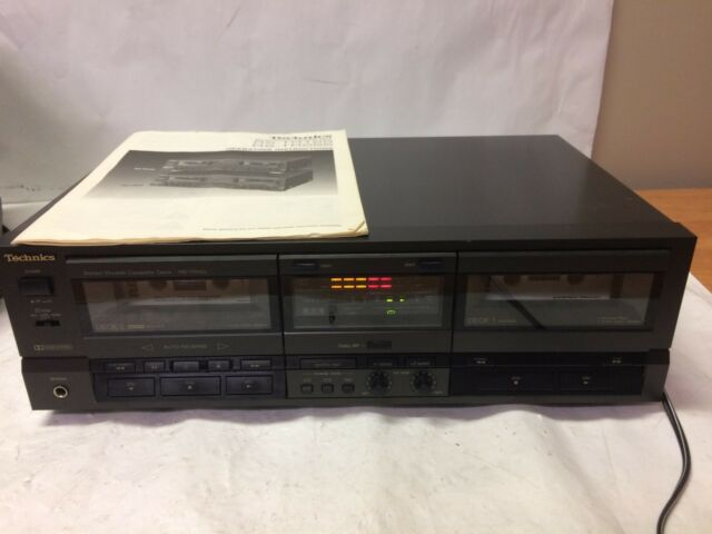 Technics Double Cassette Deck RS-TR155 Recorder Player Black Stereo Edit READ