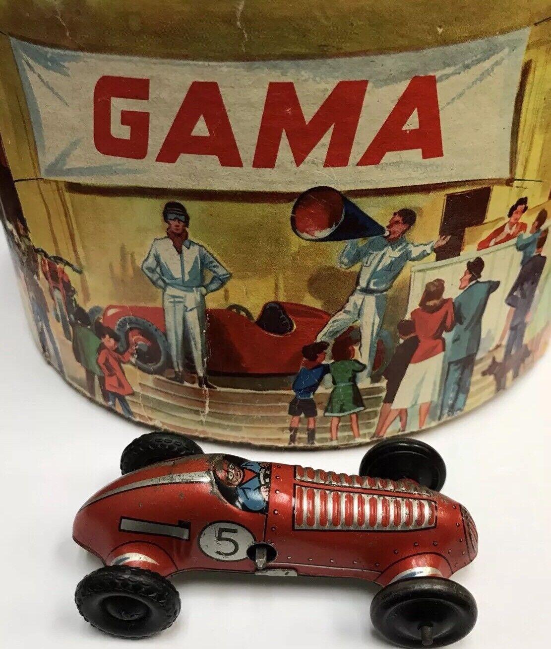 VINTAGE GERMAN GAMA 505 DARE DEVIL  TEUFLS FAHRER  ORIGINAL TOY WIND UP CAR WALL