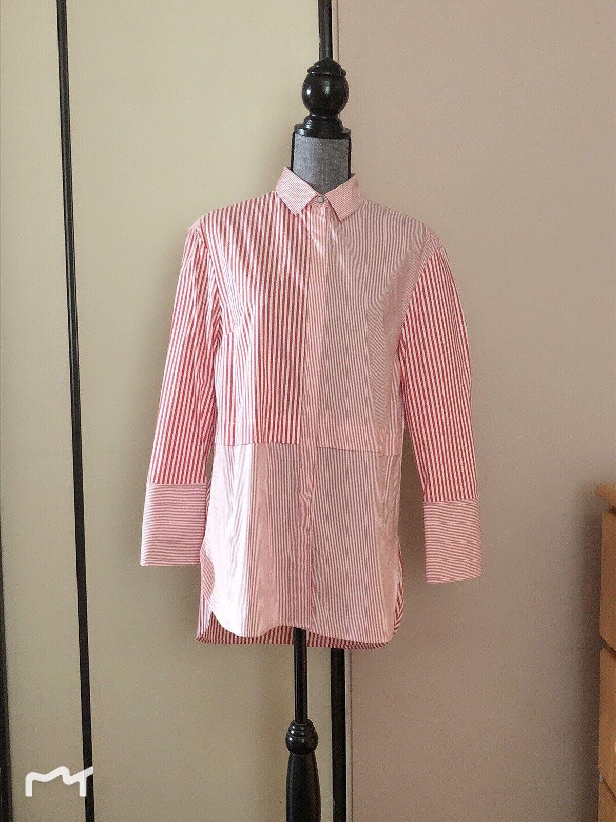 ST. JOHN Cotton Blend rot & Weiß Striped Button Front Dress Shirt  Größe 4 New