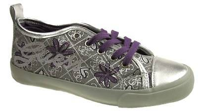GIRLS GUESS LINZI LOW LACE UP CASUAL TRAINERS SILVER PURPLE SIZE UK 10-3