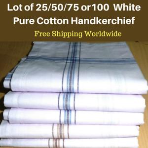 Lot-of-25-50-75or-100-Men-039-s-White-Handkerchiefs-Business-Hankies-Cotton-45x45-CM