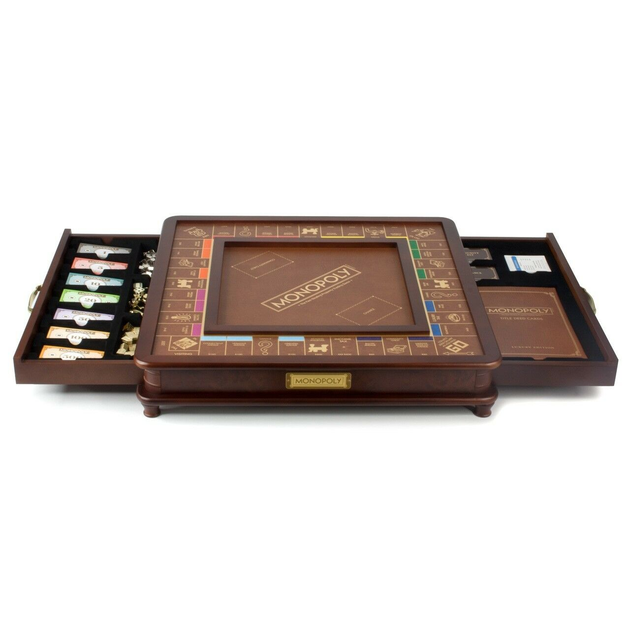 Monopoly Luxury Wooden Wooden Wooden Edition with Wood Game Board New Premium Collectible d86cc7