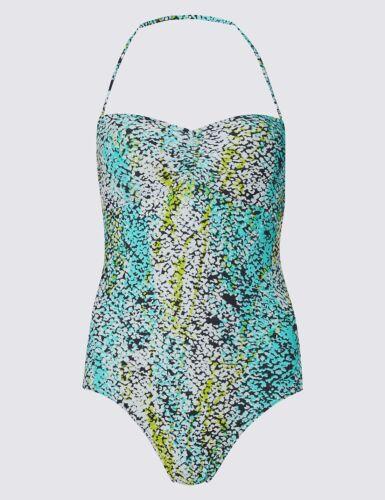 NUOVO M/&S Blue Verde Bianco Aqua Serpente Stampato Costume Da Bagno Sz UK 10 14