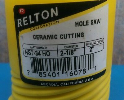 "CERAMIC CUTTING HOLE SAW,  Relton HST-34 HO,  2-1/8"" DIAM, 2"" drilling depth"