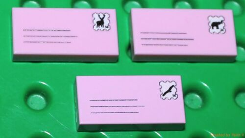 Lego 3 x Pink Tile 1x2 Custom Printed Letters Design NEW