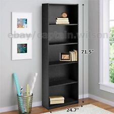 Bookcase Black 5 Shelf Bookshelf Adjustable Furniture Wood Storage Shelving Book