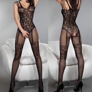 Women-Sexy-Lingerie-Nightwear-Open-Fishnet-Body-Stocking-Bodysuit-Sleepwear