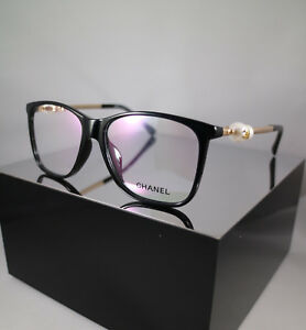 Chanel Ch3330h C501 Pearl Eyeglasses Frames In Black And