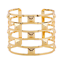 Fashion-Retro-Men-Women-Gold-Hollow-Out-Rivets-Punk-Bangle-Cuff-Wide-Bracelet thumbnail 3