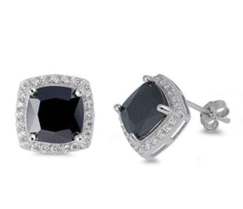 USA vendeur Carré Boucles D/'oreille Argent Sterling 925 Meilleur Prix Bijoux Noir Zircone Cubique