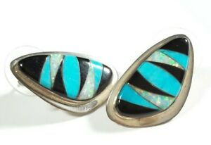 925-STERLING-SILVER-TURQUOISE-ONYX-SYNTHETIC-OPAL-1-034-POST-EARRINGS
