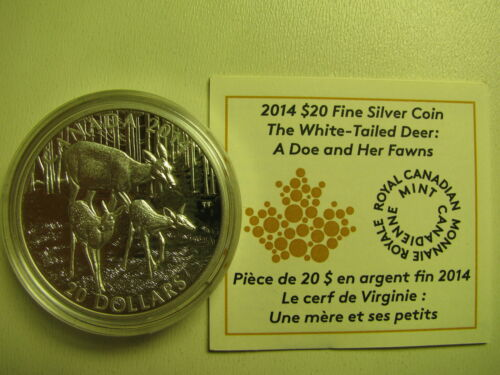 2014 Proof $20 White-Tailed Deer #4-Doe /& Fawns Canada COIN/&COA ONLY .9999 silve