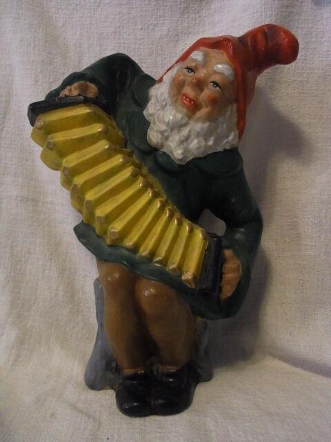 Vintage  German Art Pottery Garden Yard Outdoor Gnome / Dwarf with Accordion #^