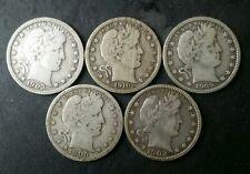 Lot of Five 25c Barber Silver Quarter Dollars